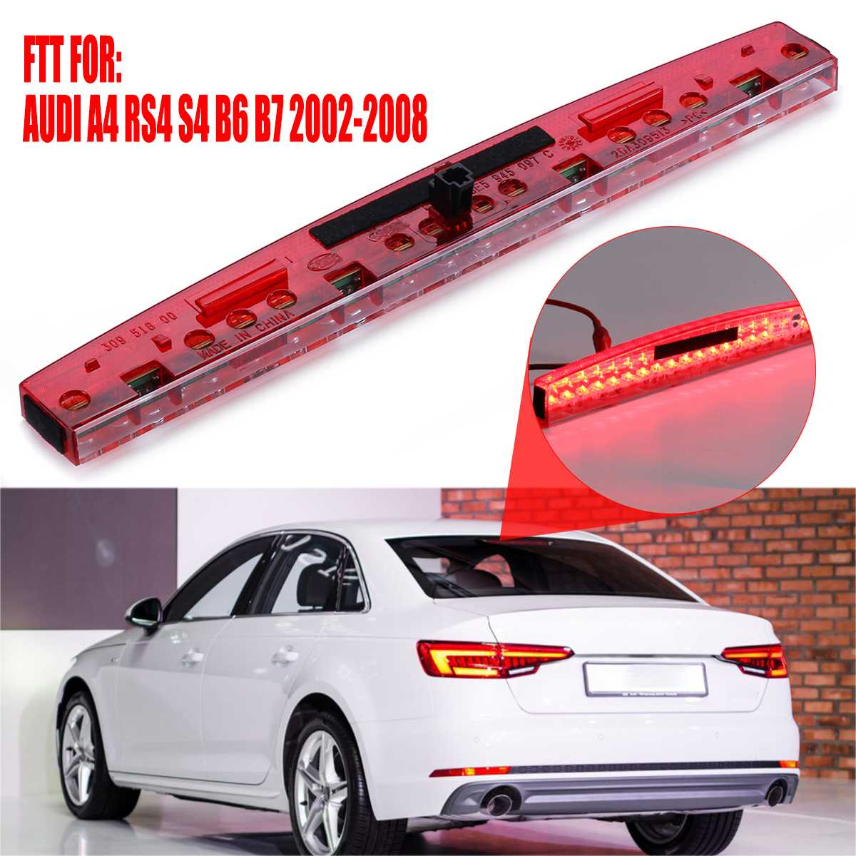 Car High Mount Third Brake Light Red Led Plastic Center Rear Stop Light Durable Taillight For AUDI A4 RS4 S4 B6 B7 2002 2008