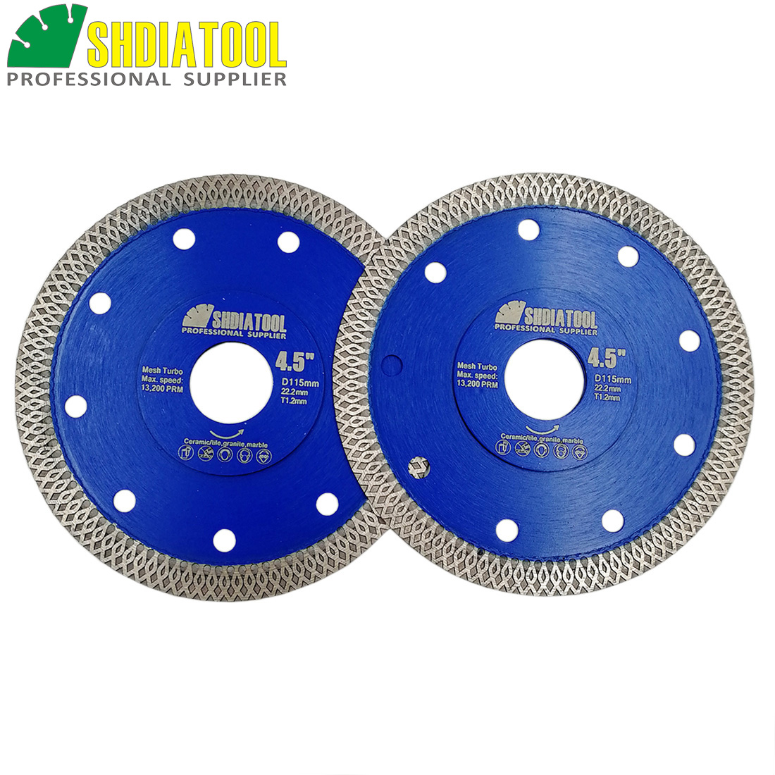 SHDIATOOL 2units Dia 4.5inch/115mm Hot pressed X Mesh Turbo Diamond Saw blade Diamond height 10MM Cutting Disc for Ceramic Tile