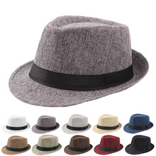 eaf142ad5c4 Vintage Curling Fedoras For Women Men Linen Wide Brim Hat Unisex Fashion Jazz  Hats Summer Beach