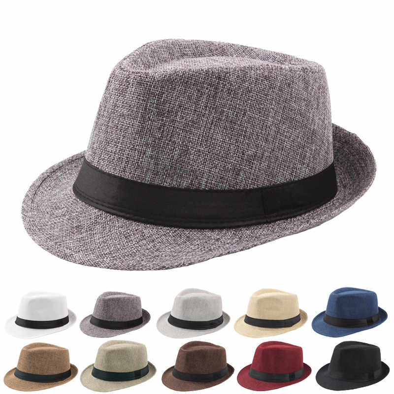 8013ff99fc9 Vintage Curling Fedoras For Women Men Linen Wide Brim Hat Unisex Fashion Jazz  Hats Summer Beach