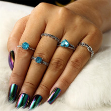 5 Pcs/lot Flower Pattern Blue CZ Crystal Rhinestone Bohemian Knuckle Rings Jewelry Heart Cubic Zirconia Ring Sets for Women gIFT(China)