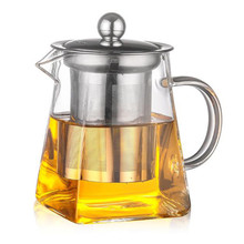 Infuser Filter Glass Teapot Set Heat Resistant Glass Stainless Steel Filtering Tea Pot Square Flower Container Home Office B4