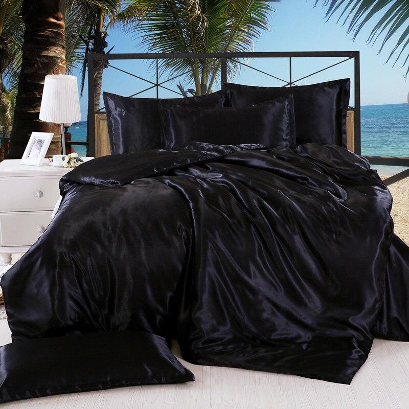 Solid color satin silk 3pcs 4pcs bedding set Home Textile King size bed set bedclothes duvet