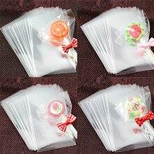100 個ギフトロリポップクッキー袋包装オープン透明結婚式の好意セロハン小さなプラスチック包装用品