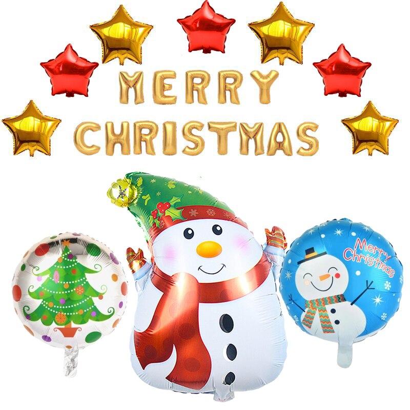 Frohe Weihnachten Schwedisch.Us 8 49 15 Off 24 Stucke Frohe Weihnachten Party Dekorationen Santa Claus Schneemann Folie Helium Ballon Weihnachten Buchstaben Air Ball Neue Jahr