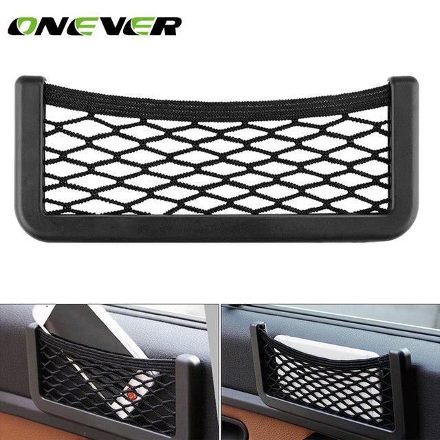 Onever Bolso Universal pequeño lateral para asiento de coche, organizador de bolsillo de malla con cordón, para billetera, teléfono, red