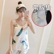 With Chest Pad Sexy Strap Shorts Silk-like Two-Piece Set Pajamas Ms Summer Silk High-Grade Pajama