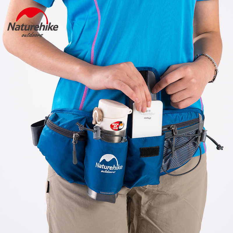 Naturehike hombres mujeres deportes cintura bolsa Unisex agua botella cinturón bolsa correr senderismo ciclismo teléfono impermeable cintura bolsas negro rojo