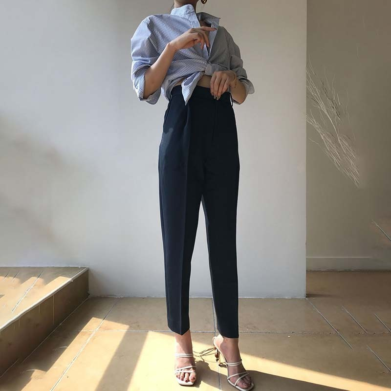 Grandes white Tobillo Black Tallas La Alta Longitud Cremallera Pants Pants Pantalones Harem 2018 Pants Bolsillos Mujeres Para Con Twotwinstyle Otoño Moda navy Del Cintura Casual De qOqwaR
