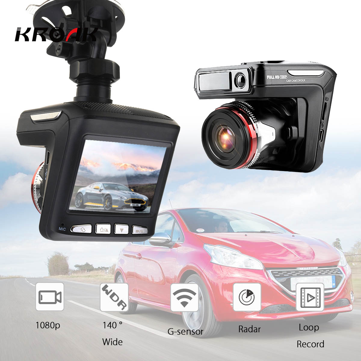 3 в 1 Автомобильный dvr Full HD 1080p радар детектор камера 140 градусов угол автомобиля видео регистраторы 2,4 дюймов ЖК-дисплей вождения Запись
