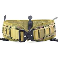 Men's Combat Nylon Tactical Waist Belt Set Slim Battle Inner Belt Laser Cut Girdle Camouflage Wargame Airsoft Paintball Military