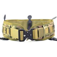 Men's Combat Nylon Tactical Waist Belt Set Slim Battle Inner Belt Laser Cut Girdle Camouflage Wargame Airsoft Paintball Military