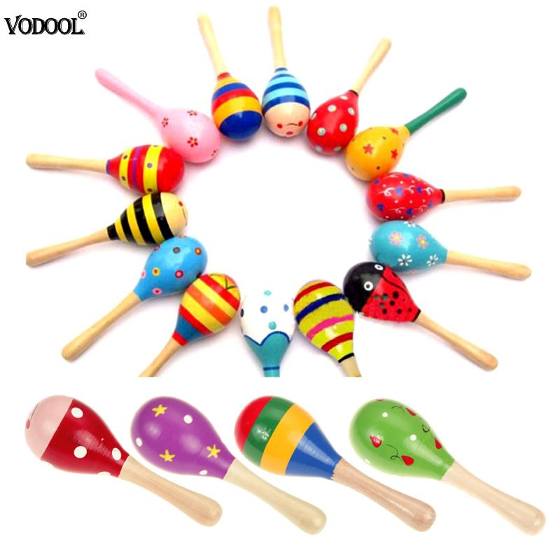 1PC Newborn Baby Rattle Musical Instrument Toys Sand Hammer Toy Kids Sound Music Wooden Hammer Handle Wooden Toys For Children