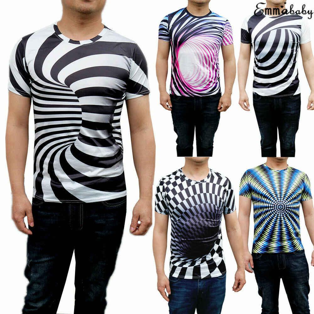 2c3c7036 3D Optical illusion T-Shirt Hypnosis Swirl Print Men Women Short Sleeve  Whirlpool Printed Tee