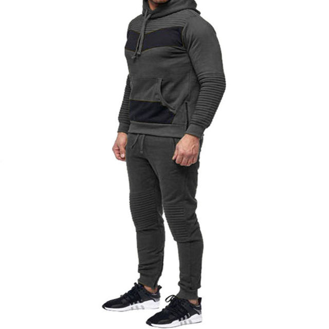 Brand New Men Sets hooded tracksuit track 2018 sweat suits Patchwork Color Matching male sweatsuit men sporting suits Sportswear