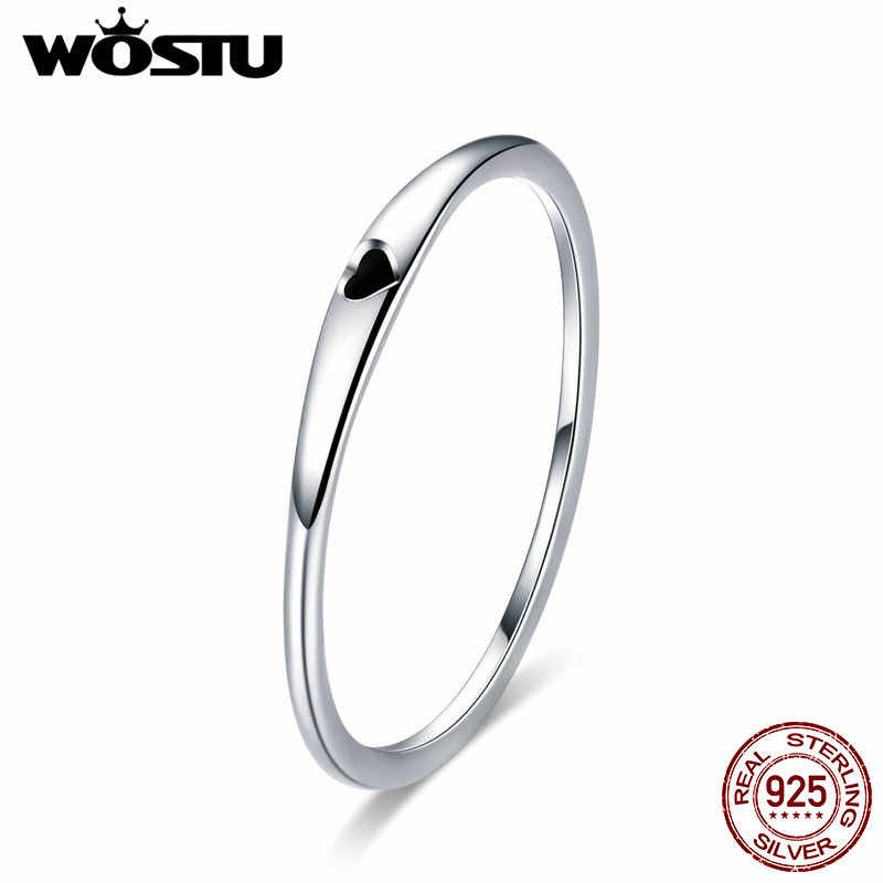 WOSTU Authentic 100% 925 Sterling Silver Simple Love Ring For Women Anniversary Engagement Classic Birthday Jewelry Gift CQR468