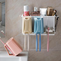 Self adhesive Strong Suction Toothbrush Toothpaste Holders Bathroom Toothbrush Holder Storage Rack Tooth Brush Dispenser