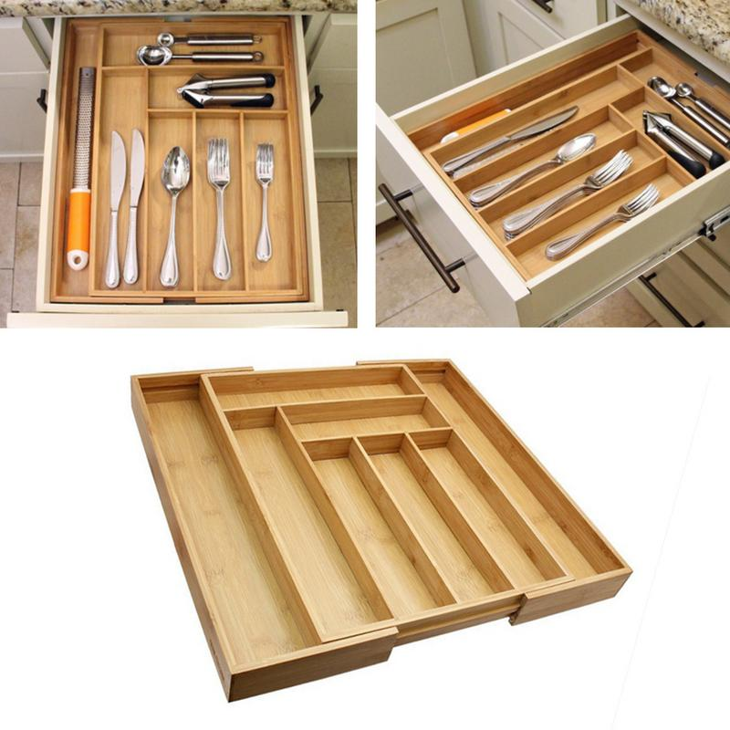 Drawer Storage Box Retractable Organizer For Utensils Western Food Tableware 35.7x25.7x5cm Wooden Drawer Storage Box Kitchen