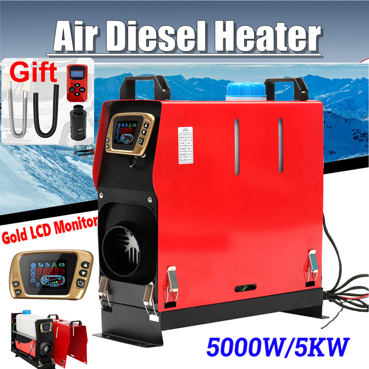Все в одном 5000 Вт воздушные Дизели нагреватель 5квт 12 в автомобильный нагреватель для грузовиков моторных домов лодки автобус + новейший ЖК ...