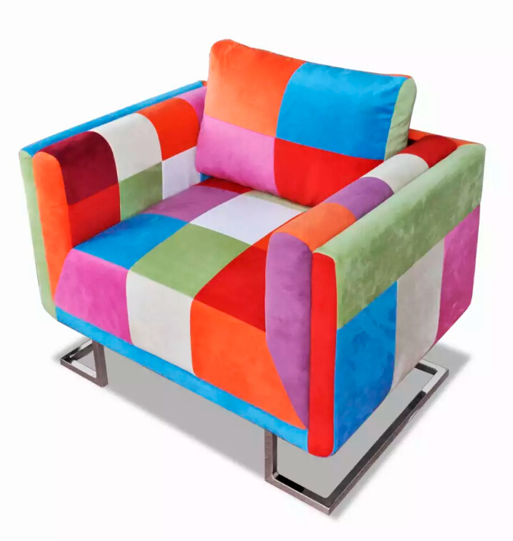 VidaXL Modern Design Cube Armchair With Chromed Feet Patchwork Fabric Armchair / Sweden Design Sofa Chair Backrest Cushion
