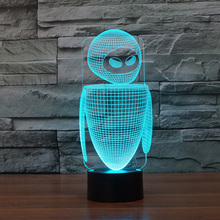 New Robot colorful 3D led night light 7 Colors auto Changing 3D Illusion lamp kids/baby bedroom bedside table lamp for sleeping недорого