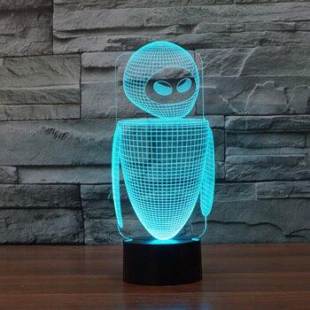 Nuevo Robot colorido 3D led luz de noche 7 colores auto cambio 3D ilusión lámpara niños/bebé dormitorio mesita de noche lámpara para dormir