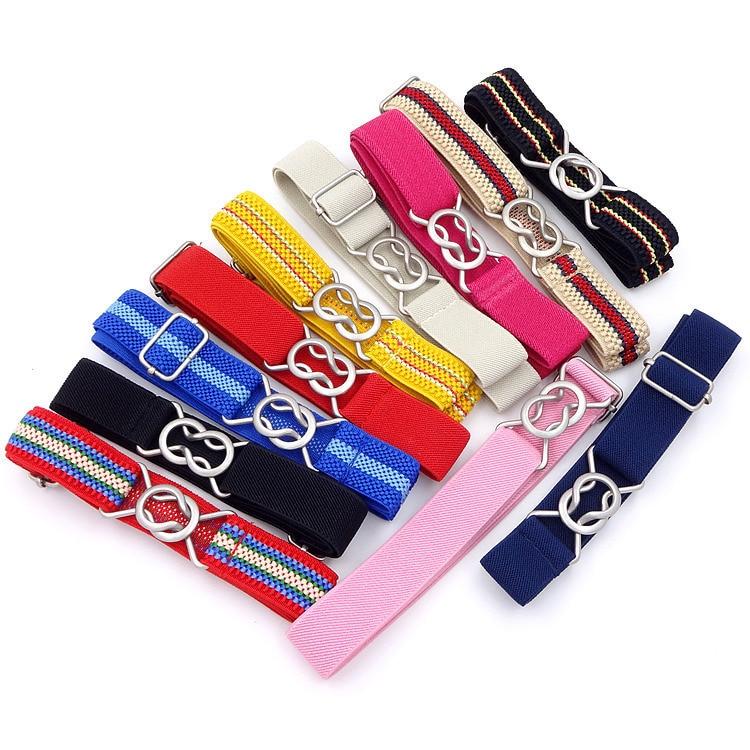 Free Shipping Candy Color Stripe 1 Inch Wide Kids Children Elastic Waist Belt For Boys Girls Adjustable