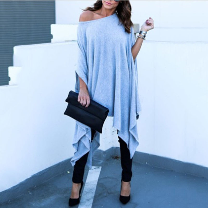 Women Tops Irregular Casual Plus Size One Shoulder Batwing Sleeve Blouse Shirts