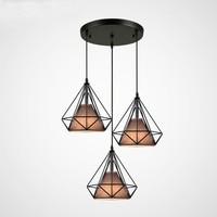 Industrial moderna Gaiola de Metal diamante Sombra Luz Pingente bar lâmpada Do Vintage LEVOU Filamento da Lâmpada luminárias Ac90 260v|Luzes de pendentes| |  -