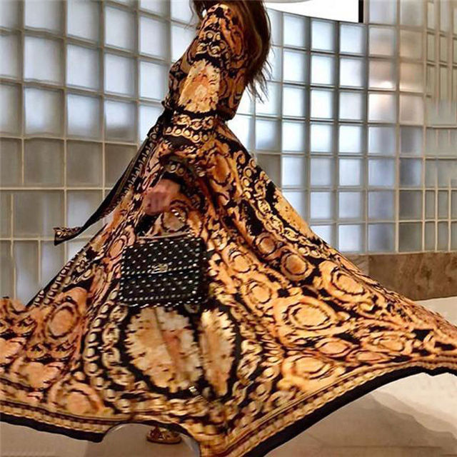 MeiHuiDa 2018 New Style Fashion Elegant Women Sexy Boat Neck Glitter Deep V Neck Print Dress Party Formal Long Dress