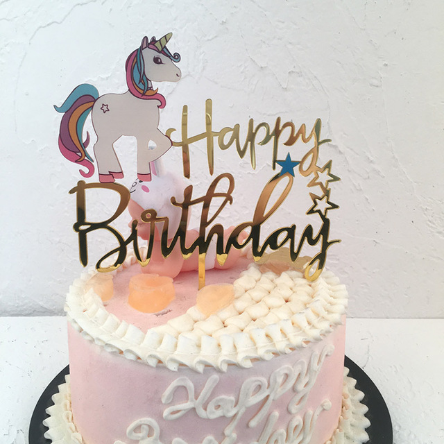 Unicorn Acrylic Happy Birthday Cake Topper For Baby Shower Cupcake Toppers Cake Topper Wedding Personalized Cake Decoration Flag