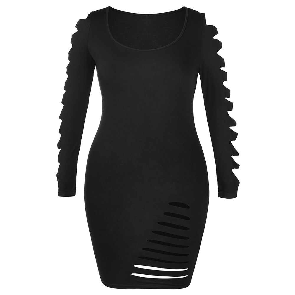 780a5ed032a Wipalo Plus Size Dress Female Autumn Ladder Cut Out Sleeve Ripped Sexy  Dresses Solid Square Neck