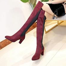 2018 Fashion Female Autumn Winter Thigh High Boots Suede Leather High Heels Women Over The Knee Shoes Plus Size 36-42