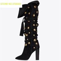 Новый Для женщин потепления раза золотые заклепки острый носок не сужающийся к низу каблук бахрома с кисточками на шнуровке сапоги до колен