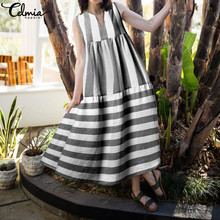 Celmia Dress 2019 Summer Women Vintage Stripe Long Maxi Dresses Casual V Neck Sleeveless Loose Plus Size Vestidos Robe 7