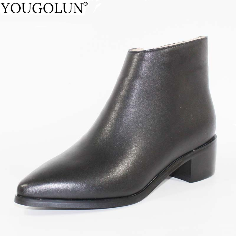 Women Ankle Boots Genuine Leather Ladies Winter Mid Square Heel 4 5cm Heels Fashion Woman Pointed