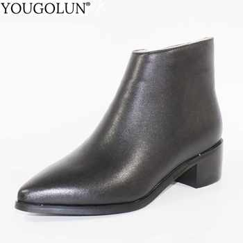 Women Ankle Boots Genuine Leather Ladies Winter Mid Square Heel 4.5cm Heels Fashion Woman Pointed Toe Black Shoes YOUGOLUN A101 - DISCOUNT ITEM  49% OFF All Category