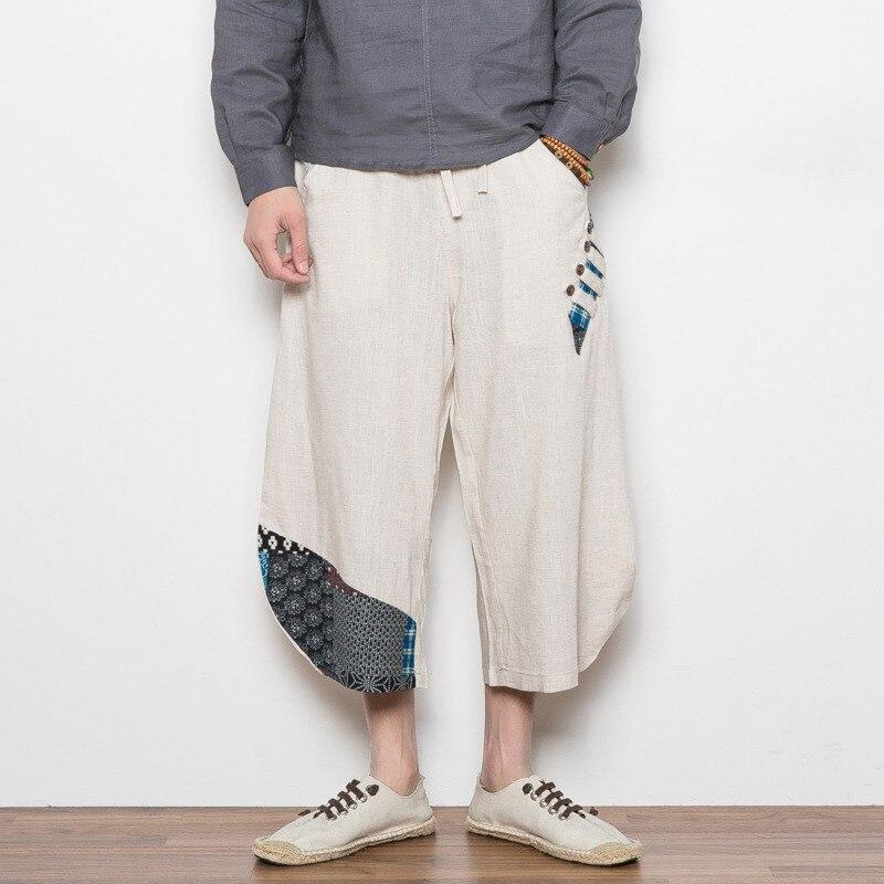 d76a41a200bd174 #4543 летние японские повседневные штаны шаровары большие размеры 5XL синий/хаки  брюки-кимоно Мужские Винтажные хлопковые льняные брюки свобо.