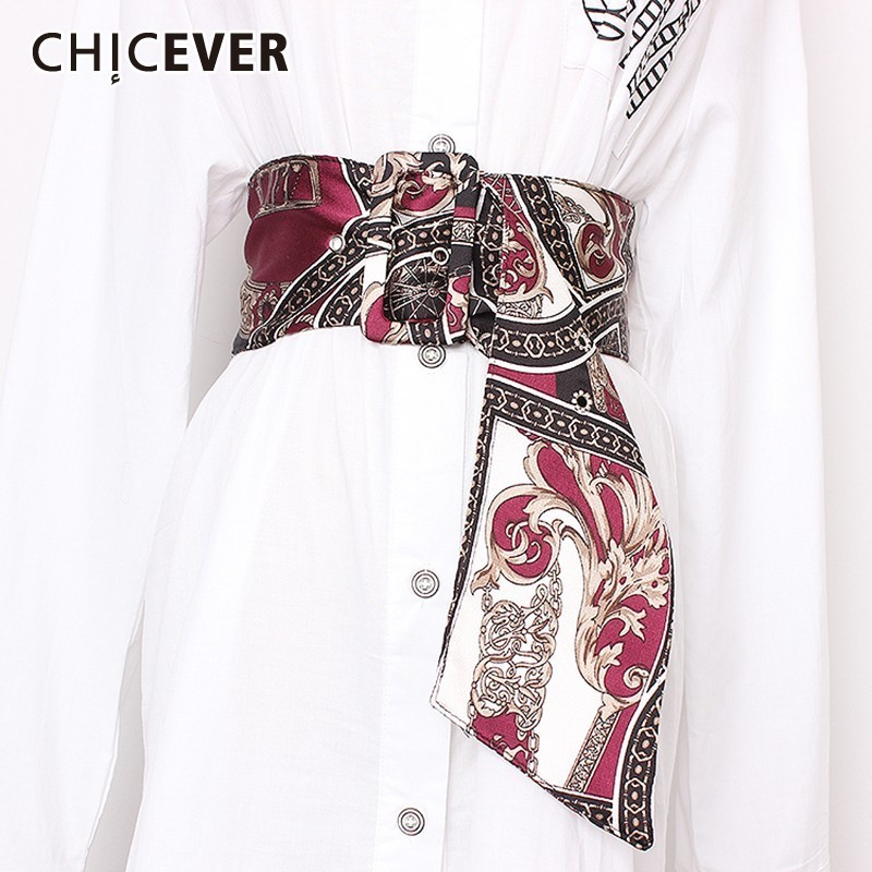 CHICVER Vantage Casual Patchwork Print Belt For Women Wide Irregular Knitting Female Belts 2019 Fashion New Tide