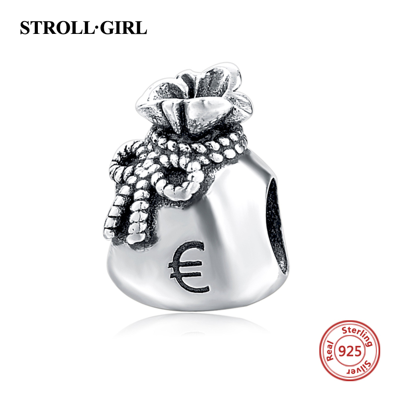 925 Sterling Silver Euro Purse Charm Green CZ Fit Original Pandora Bracelet Necklace Authentic Same Jewelry 2017 New Year Gift