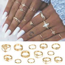 13PC/Set Vintage Star Opal Crystal Ring Set fashion female finger ring women Bohemia Gold Moon Crown Knuckle Jewelry Accessories недорого