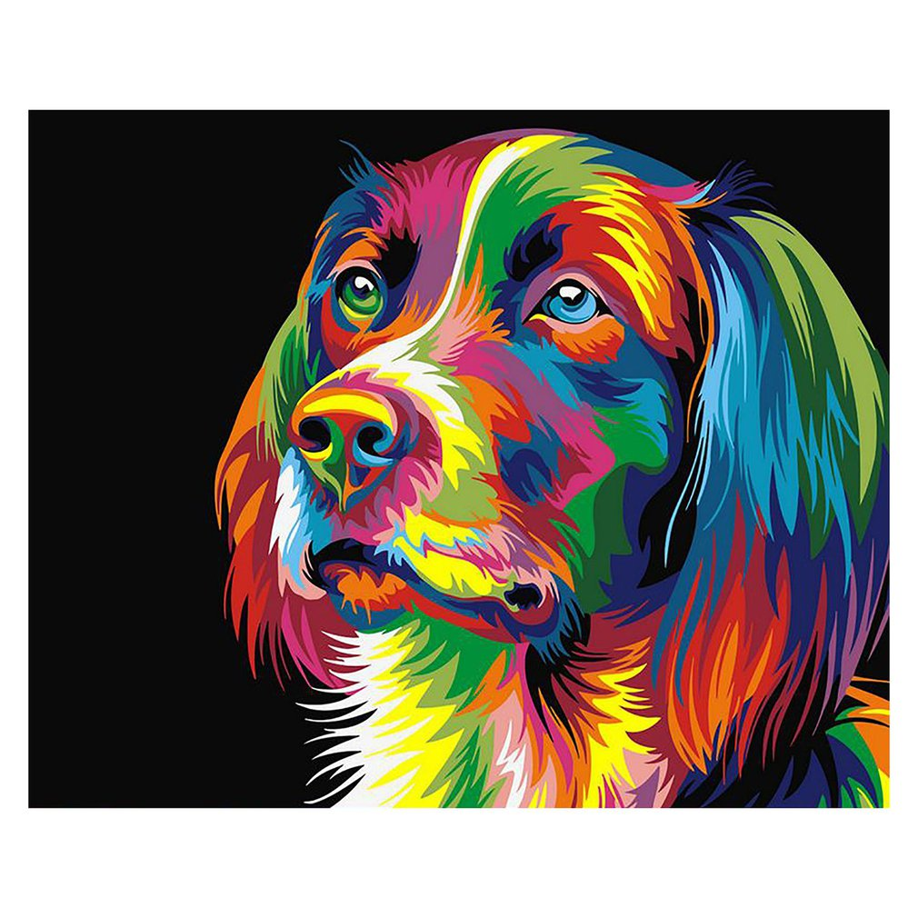 DIY Oil Painting Side Face Color Idyllic Dog Hand-painted Landscape Decorative Painting Linen For Adults Kids Beginner