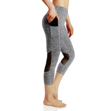 Women High Waist Tights Gym Running Dry Quick Leggings Sportswear Yoga Pants Women's Leggins Mesh Capris Sport Fitness Trousers