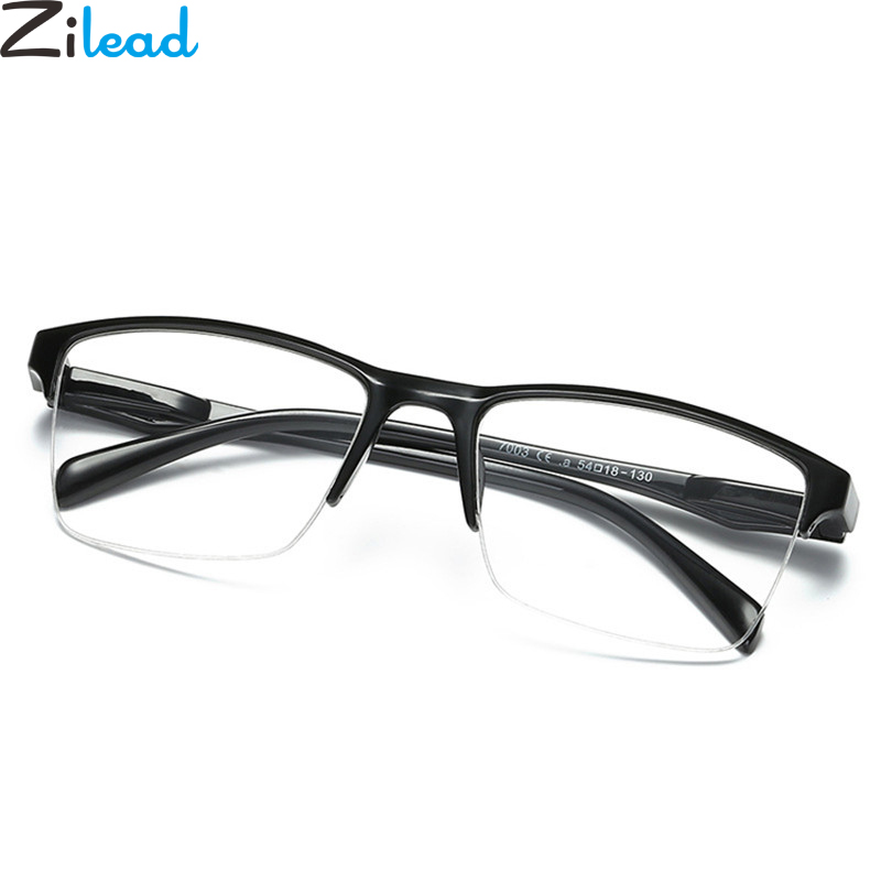 Zilead Half Frame Reading Glasses Classical Black Resin Clear Lens Anti-fatigue Presbyopic Glasses+1.0+1.25+1.5+1.75+2.0to+4.0