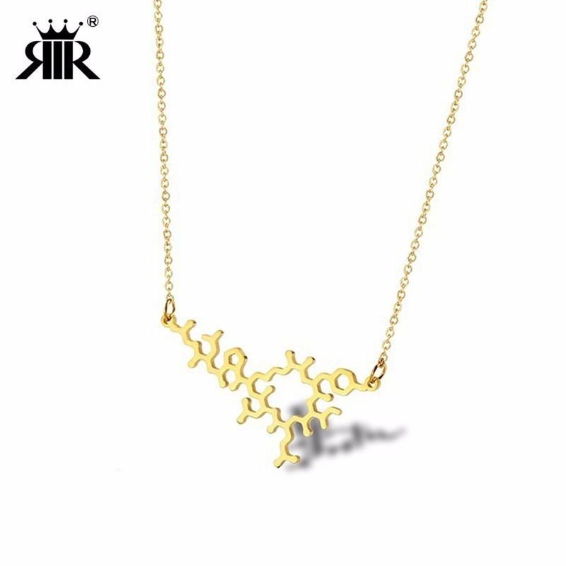 RIR Simple Laser coupe en acier inoxydable oxytocine collier exquis Hormone chimique Science moléculaire collier femme bijoux