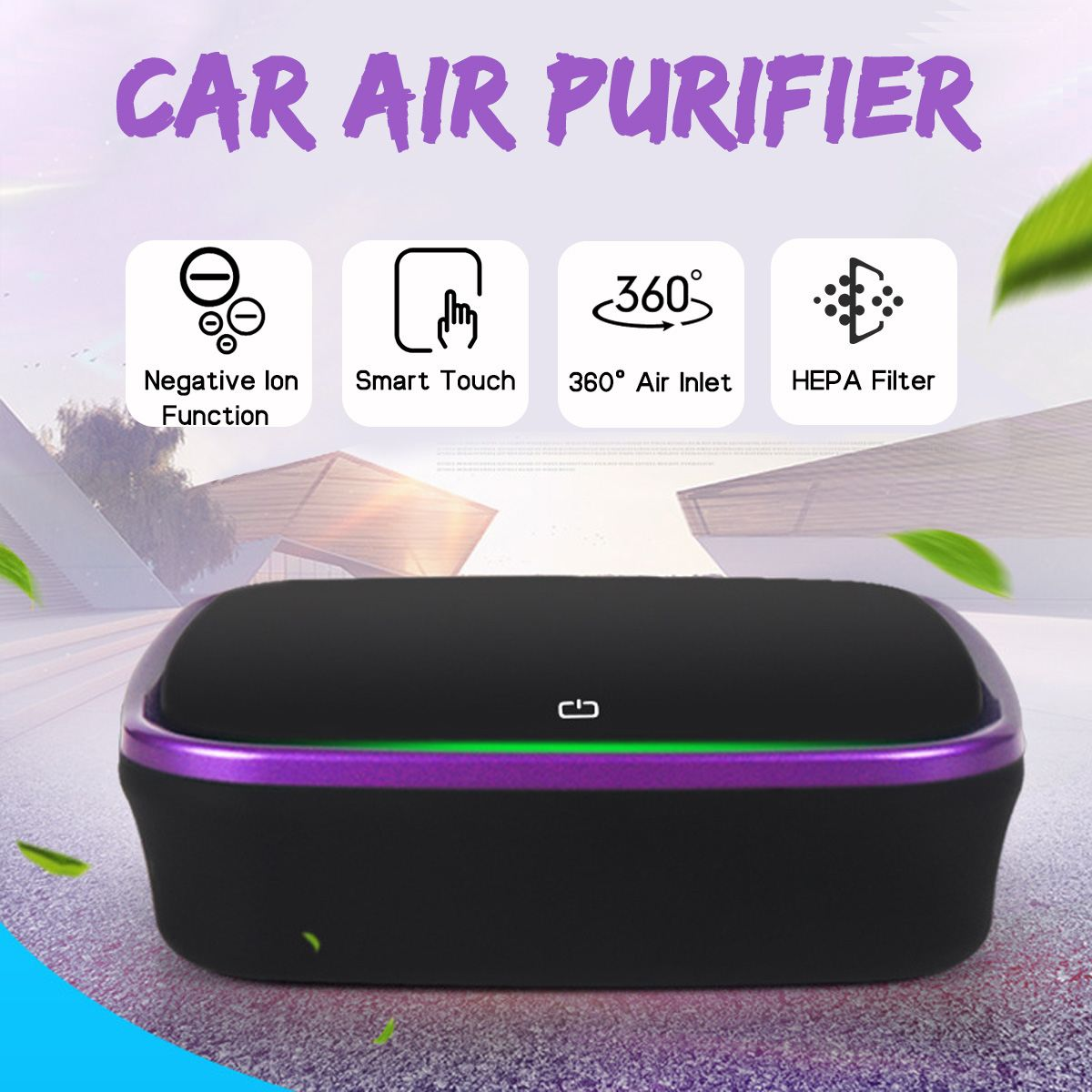 Car Air Purifier 5V Negative Ions Air Cleaner Ionizer Air Freshener Auto Mist Maker Pm 2.5 Eliminator Car Charger for Car Home