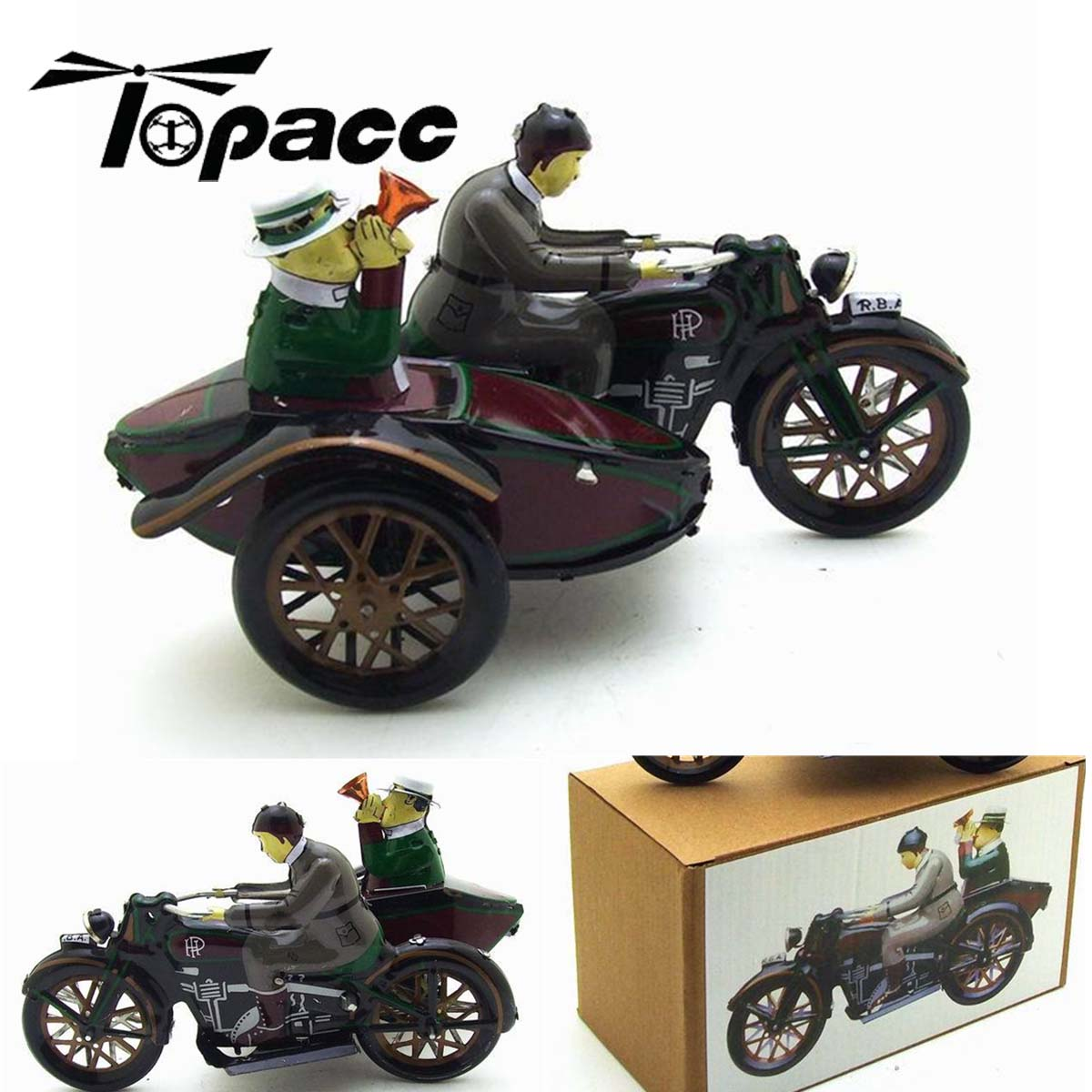 Riding A Car Tin Motorcycle Toys Vintage Wind Up Riding Children Clockwork Tin Toy With Box Fun Collectible Home Decoration