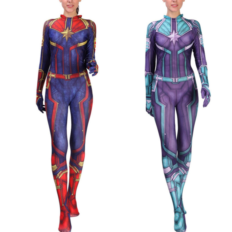Captain Marvel Cosplay Costume Carol Danvers 2019 Superhero Halloween Ms Marvel Jumpsuit girls kids women Avengers Infinity War