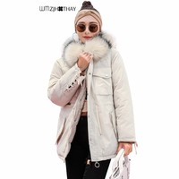 Patchwork Colored Big Fur Collar Cotton Jacket Winter Women Down Warm Hooded Parker Fashion Casual Thicken Loose Coat Outerwear