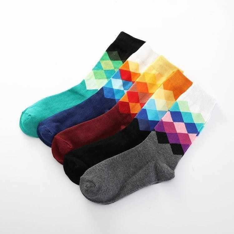 211640cc2 ... Plus Size Casual Colorful Happy Socks Men Funny Cotton Socks Warm  British Style Plaid Hot Brand ...
